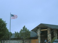 The winds, as shown by this flag at the Golden Spike Natl Monument, blew throughout the day.