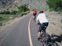 Brian in front and Lawrence on the bike trail near Big Rocky Candy Mountain