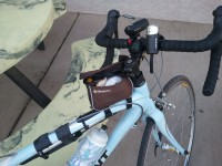 Jackies bike with the rear derailleur cable taped in place, after it snapped.