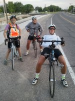 Ever-smiling Jackie, Gerry &amp; David, just prior to the final climb of the day (US-50), near Aurora, north of Richfield.